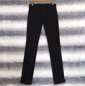 J Brand Slit Hem Straight Leg Black Jeans 26